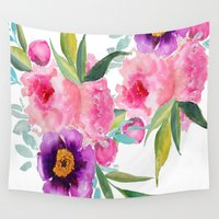 craftberrybush Wall Tapestries featuring Floral white  by craftberrybush