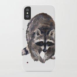 RACOON painting, wilderness nursery art, woodland animal art, racoon watercolor, cute racoon print iPhone Case