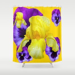PURPLE PANSIES & YELLOW IRIS MONTAGE Shower Curtain