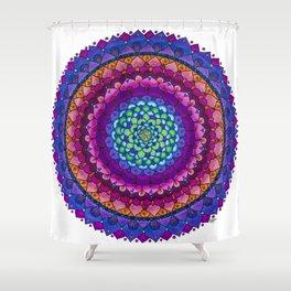 OHMandala Pink and Purple Colored Pencil Mandala Illustration by Imaginarium Creative Studios Shower Curtain