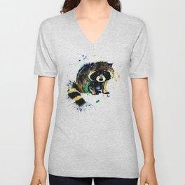 Raccoon - Splat Unisex V-Neck