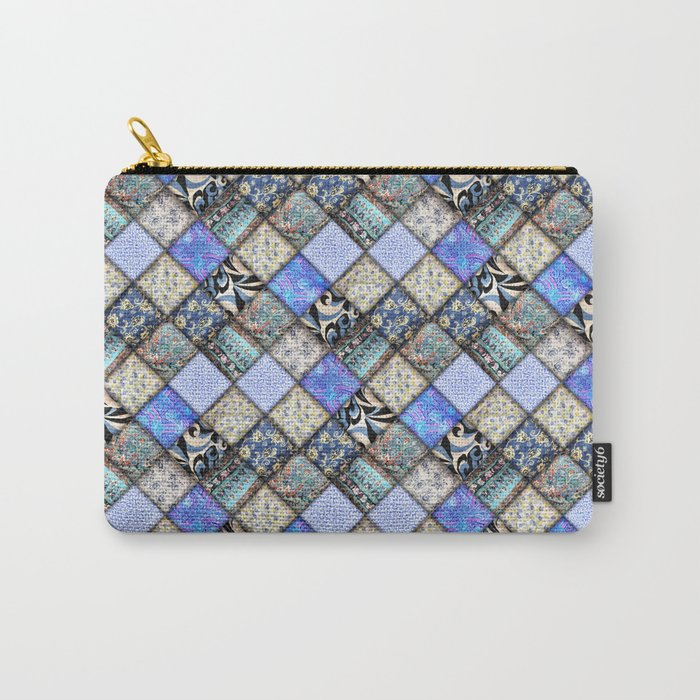 Faux Patchwork Quilting - Blues Carry-All Pouch