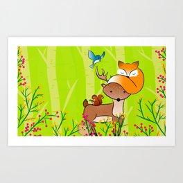 animals of the wood Art Print
