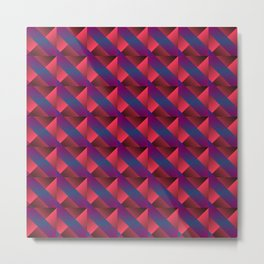 Braid of bright pink squares and triangles in blue. Metal Print