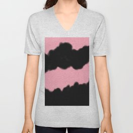 Artistic abstract black coral pink watercolor brushstrokes Unisex V-Neck