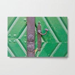 Door Knob on a Green Door Metal Print