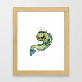 Captain Catfish Tattoo Framed Art Print