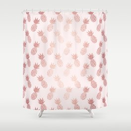 Rose Gold Pineapple Pattern Shower Curtain