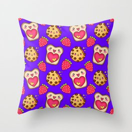 Cute funny sweet adorable happy Kawaii toast with raspberry jam and butter, chocolate chip cookies, red ripe summer strawberries cartoon fantasy purple pink pattern design Throw Pillow