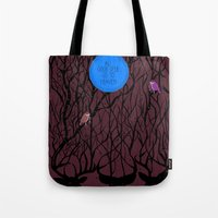 pixies Tote Bags featuring All Good Deer go to Heaven by Cocorrina