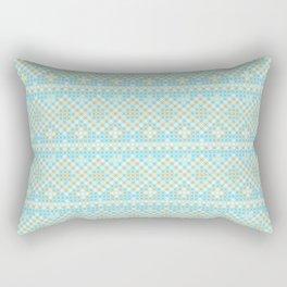 Vintage orange teal stylish cross stitch pattern Rectangular Pillow