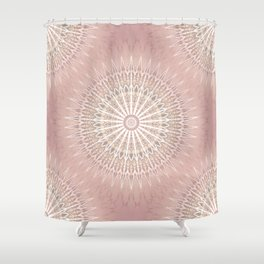 Rose Tan Geometric Mandala Shower Curtain
