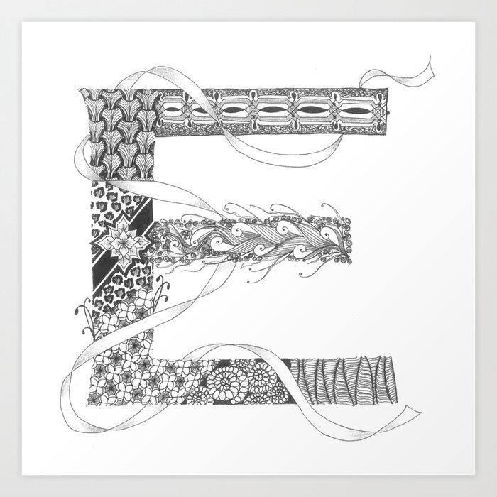 """Zenletter """"E"""" Art Print"""