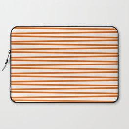 Trendy orange and white thin horizontal stripes Laptop Sleeve
