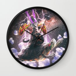 Lazer Warrior Space Cat Riding Turtle Eating Taco Wall Clock