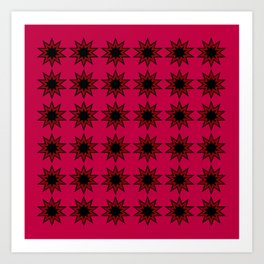 Star Pattern on Red Art Print