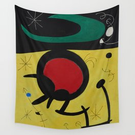 Joan Miro Vol Doiseaux, 1968, Flight of Birds Encircling the 3 Haired Woman on a Moon, Artwork, Prin Wall Tapestry