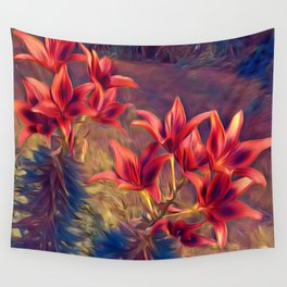 Dreamlike Enchanted Red Lillies Wall Tapestry