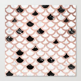 Girly rose gold black white marble mermaid scallop pattern Canvas Print