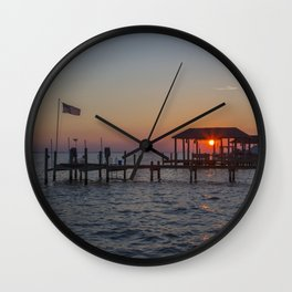 Sunset on the James River Wall Clock