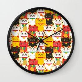Japanese Lucky Cat Beckoning Cat Maneki-Neko Health And Wealth Wall Clock