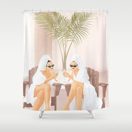 Morning with a friend III Shower Curtain