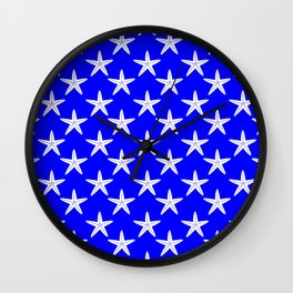 Starfishes (White & Blue Pattern) Wall Clock