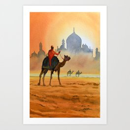 Camel Riders Alongside the Taj Mahal Art Print