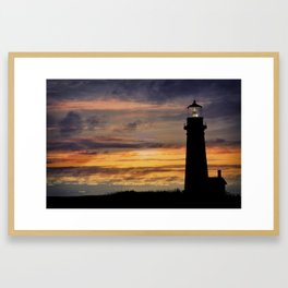 Newport Oregon - Setting Sun Framed Art Print