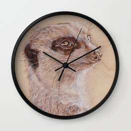 Meerkat Portrait - Drawing by Burning on Wood - Pyrography Art Wall Clock