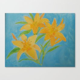 Yellow Day Lily Trio Acrylic Painting Blue Background by Rosie Foshee Canvas Print