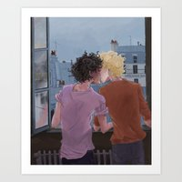 grantaire Art Prints featuring Enjolras, Grantaire and twilight over Paris by icarusdrunk