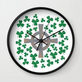 Celtic cross and Shamrock. St.Patrick's Day Wall Clock