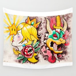 Peach and Bowser Tattoo Flash Wall Tapestry