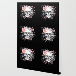 Dia Los Muertos, Floral Skull Wallpaper