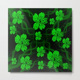 artfully painted green asian  blossoms on the dark background Metal Print