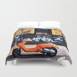 Orange Scooter Duvet Cover