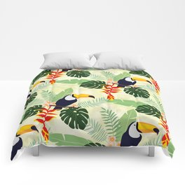 Toucan and Big Leave Pattern Comforters