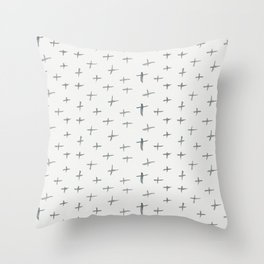 Abstract hand painted black white watercolor crosses Throw Pillow