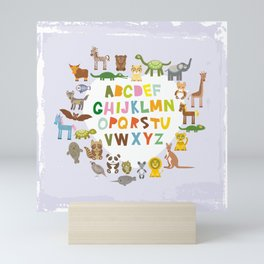 back to school. alphabet for kids from A to Z. funny cartoon animals Mini Art Print