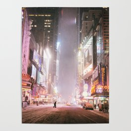 New York City Colorful Snowy Night in Times Square Poster