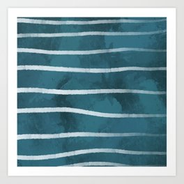 Blue with White Stripes Art Print
