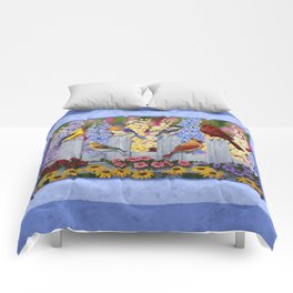 Spring Garden Party Birds and Flowers Comforters