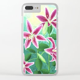 Esther's Stargazer Lilies Clear iPhone Case