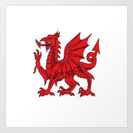 The Red Dragon or Y Ddraig Goch Isolated Art Print