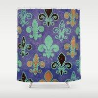 fleur de lis Shower Curtains featuring Fleur de lis #6 by Camille