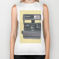 polaroid Biker Tanks featuring Polaroid  by Dora Birgis