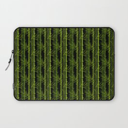 Green Bamboo Shoots and Leaves Pattern on Black Laptop Sleeve