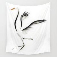 crane Wall Tapestries featuring Minimalist Crane by Kellas Campbell
