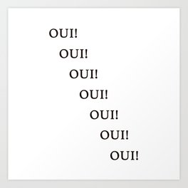 Oui Yes French Wall Art Print Black and White Design Home Decor Art Print